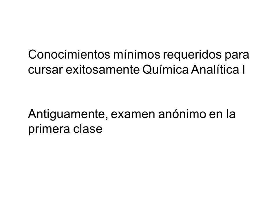 Conocimientos mínimos requeridos para cursar exitosamente Química Analítica I Antiguamente, examen anónimo en la primera clase