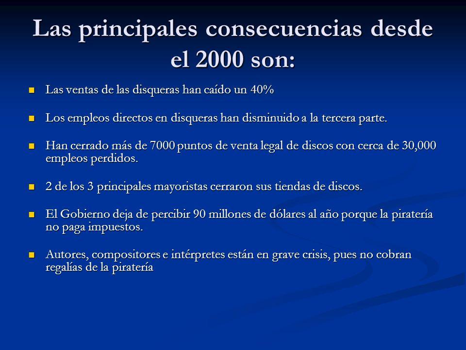 Las principales consecuencias desde el 2000 son: Las ventas de las disqueras han caído un 40% Las ventas de las disqueras han caído un 40% Los empleos
