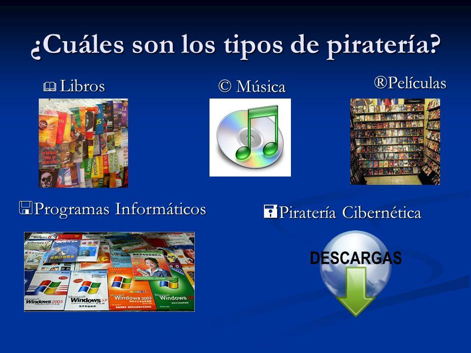 ¿Cuáles son los tipos de piratería? Libros Libros © Música ®Películas Programas Informáticos Programas Informáticos Piratería Cibernética Piratería Ci