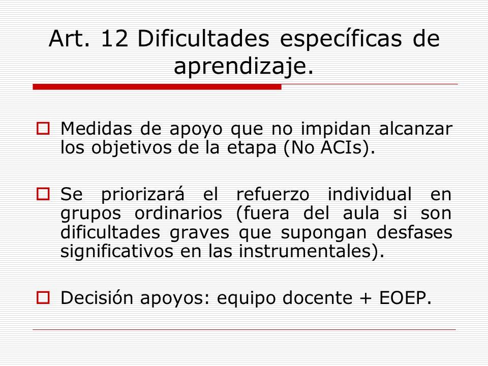 Art. 12 Dificultades específicas de aprendizaje. Medidas de apoyo que no impidan alcanzar los objetivos de la etapa (No ACIs). Se priorizará el refuer
