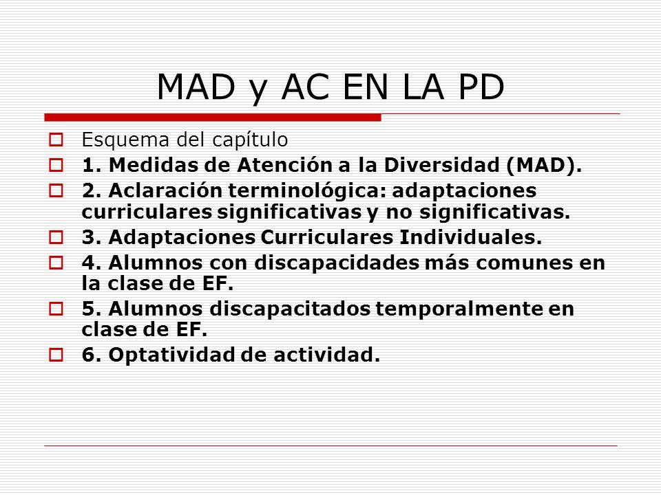 MAD y AC EN LA PD Esquema del capítulo 1. Medidas de Atención a la Diversidad (MAD). 2. Aclaración terminológica: adaptaciones curriculares significat