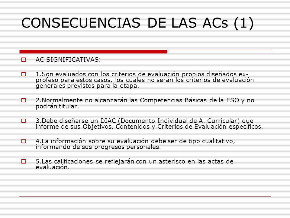 CONSECUENCIAS DE LAS ACs (1) AC SIGNIFICATIVAS: 1.Son evaluados con los criterios de evaluación propios diseñados ex- profeso para estos casos, los cu
