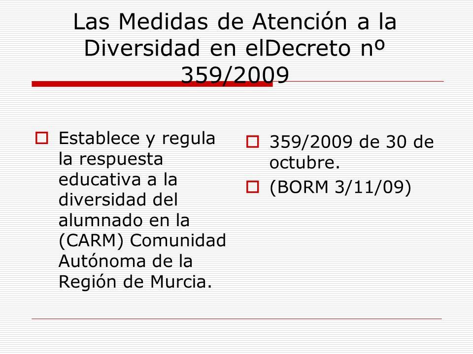 Las Medidas de Atención a la Diversidad en elDecreto nº 359/2009 Establece y regula la respuesta educativa a la diversidad del alumnado en la (CARM) C