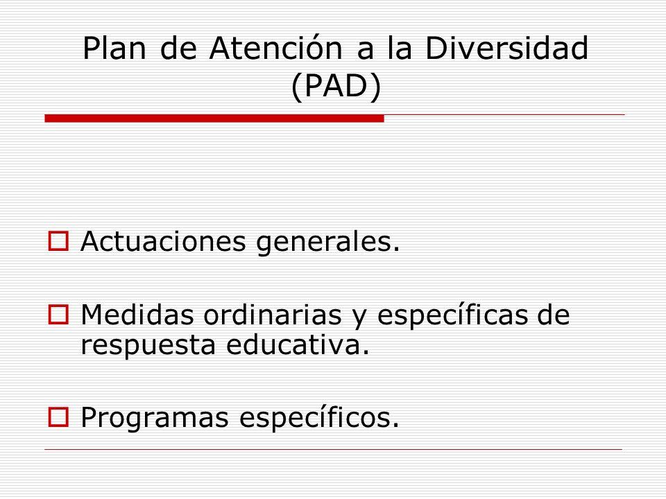 Plan de Atención a la Diversidad (PAD) Actuaciones generales. Medidas ordinarias y específicas de respuesta educativa. Programas específicos.
