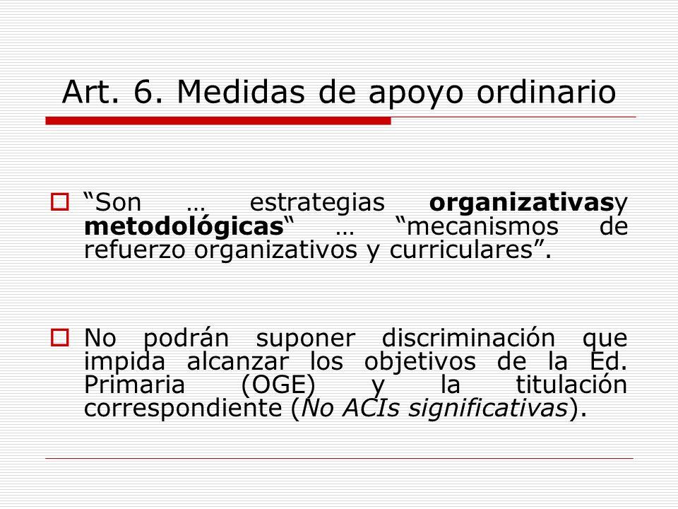 Art. 6. Medidas de apoyo ordinario Son … estrategias organizativasy metodológicas … mecanismos de refuerzo organizativos y curriculares. No podrán sup