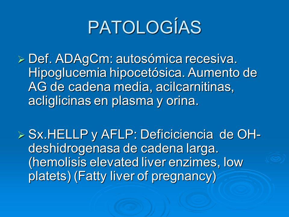 PATOLOGÍAS Def. ADAgCm: autosómica recesiva. Hipoglucemia hipocetósica. Aumento de AG de cadena media, acilcarnitinas, acliglicinas en plasma y orina.