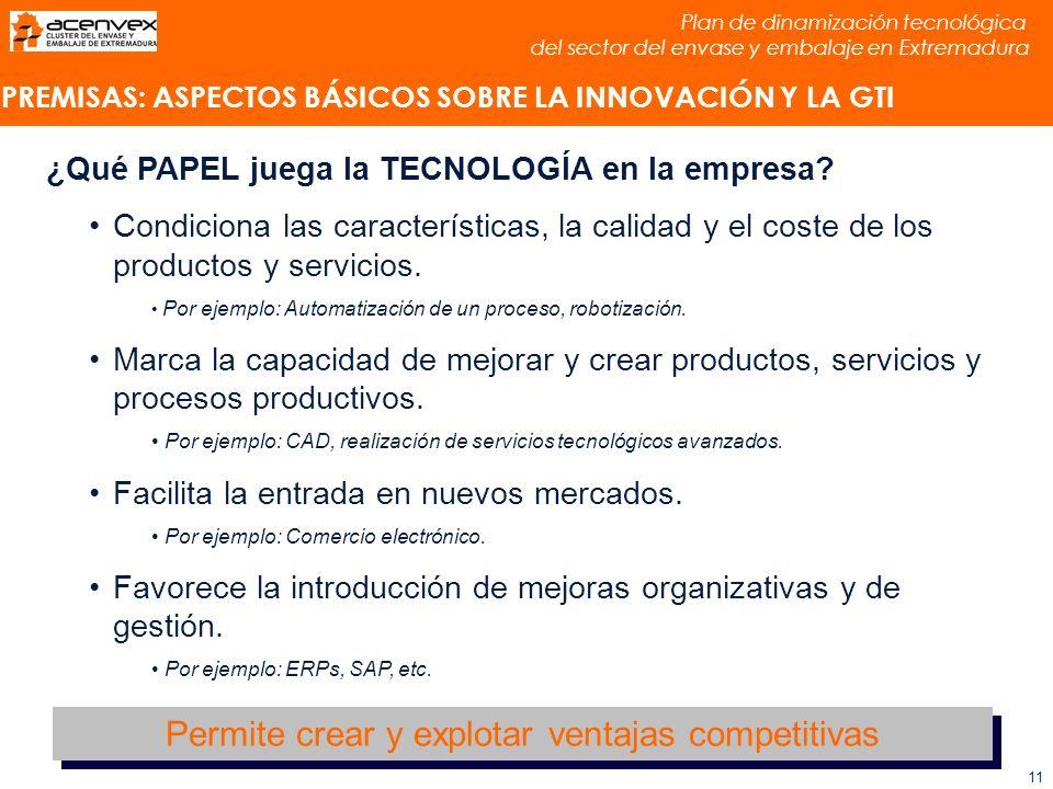 Plan de dinamización tecnológica del sector del envase y embalaje en Extremadura 11 ¿Qué PAPEL juega la TECNOLOGÍA en la empresa.