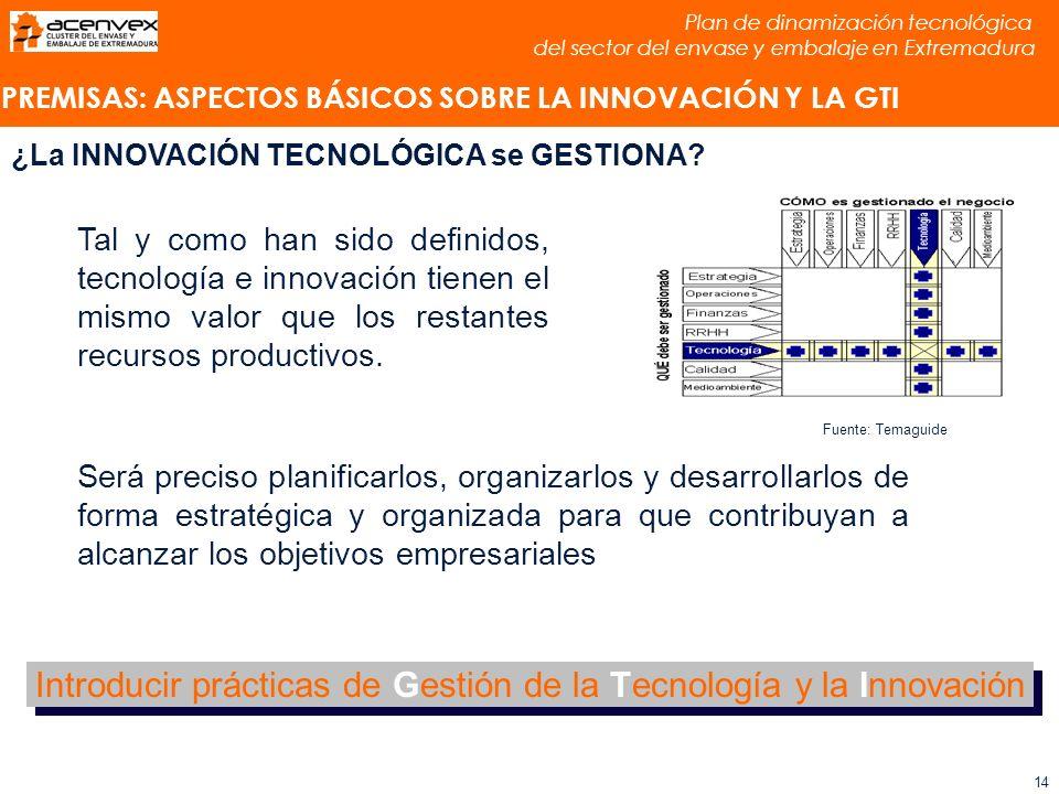 Plan de dinamización tecnológica del sector del envase y embalaje en Extremadura 14 Tal y como han sido definidos, tecnología e innovación tienen el mismo valor que los restantes recursos productivos.