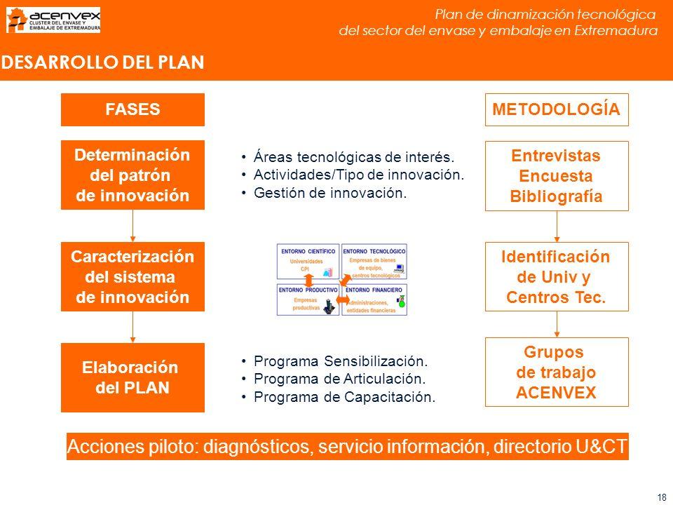 Plan de dinamización tecnológica del sector del envase y embalaje en Extremadura 18 DESARROLLO DEL PLAN Determinación del patrón de innovación Caracterización del sistema de innovación Áreas tecnológicas de interés.