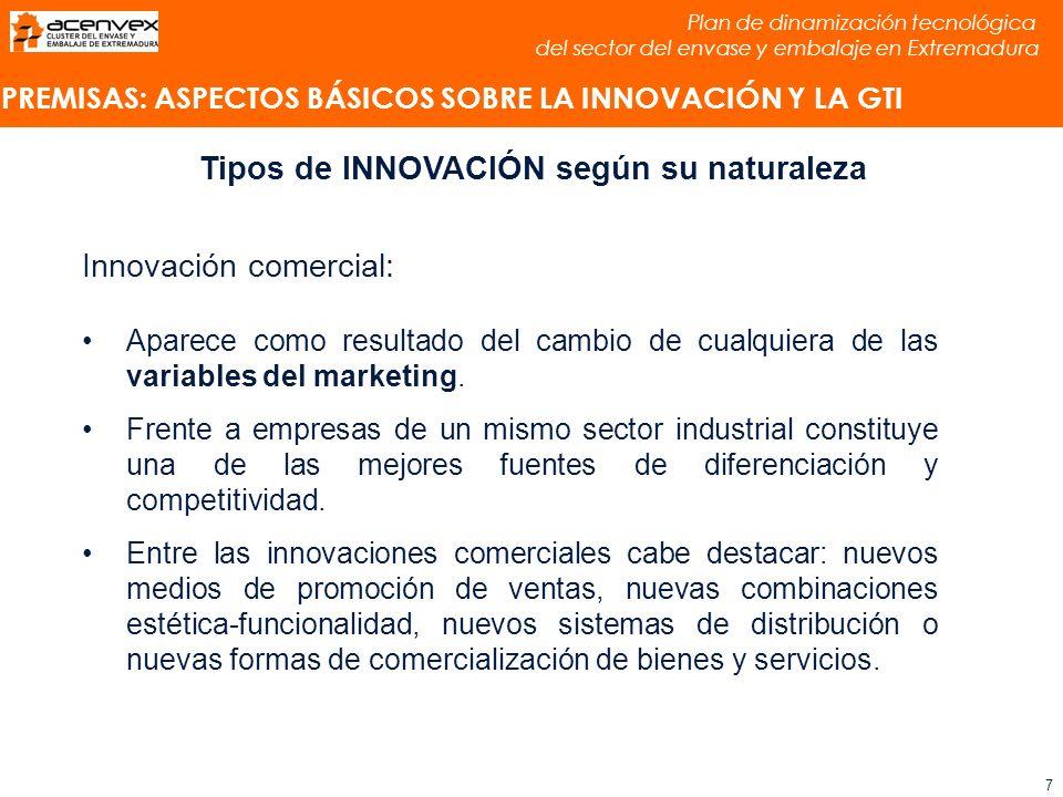 Plan de dinamización tecnológica del sector del envase y embalaje en Extremadura 8 Tipos de INNOVACIÓN según su naturaleza Innovación organizativa: Aparece como resultado del cambio en la forma en que se dirige y organiza la actividad de la empresa.