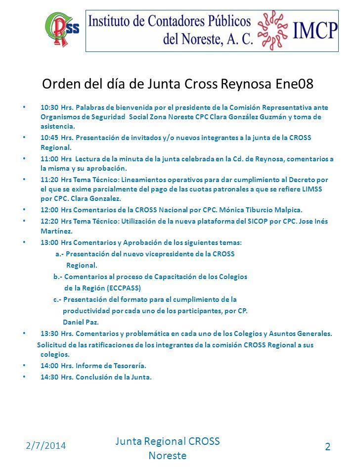 2/7/2014 Junta Regional CROSS Noreste 2 Orden del día de Junta Cross Reynosa Ene08 10:30 Hrs. Palabras de bienvenida por el presidente de la Comisión