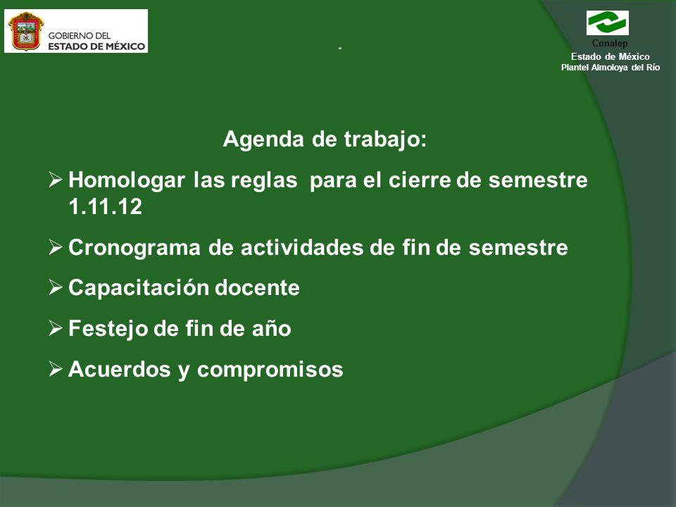Conalep Estado de México Plantel Almoloya del Río Agenda de trabajo: Homologar las reglas para el cierre de semestre 1.11.12 Cronograma de actividades