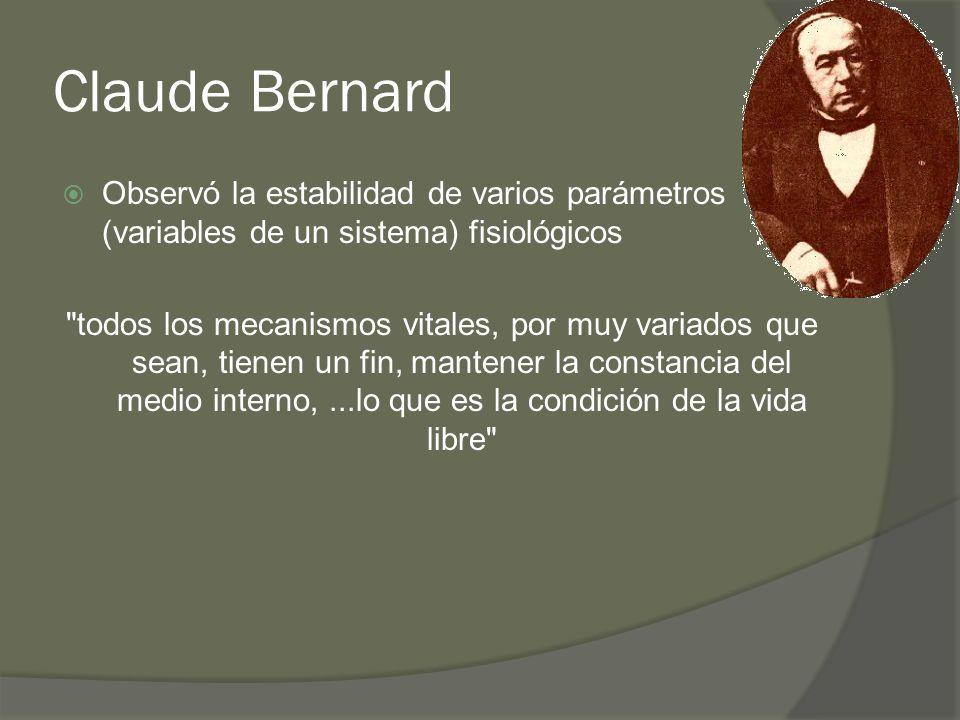 Claude Bernard Observó la estabilidad de varios parámetros (variables de un sistema) fisiológicos