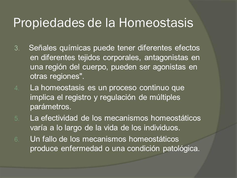 Propiedades de la Homeostasis 3. Señales químicas puede tener diferentes efectos en diferentes tejidos corporales, antagonistas en una región del cuer