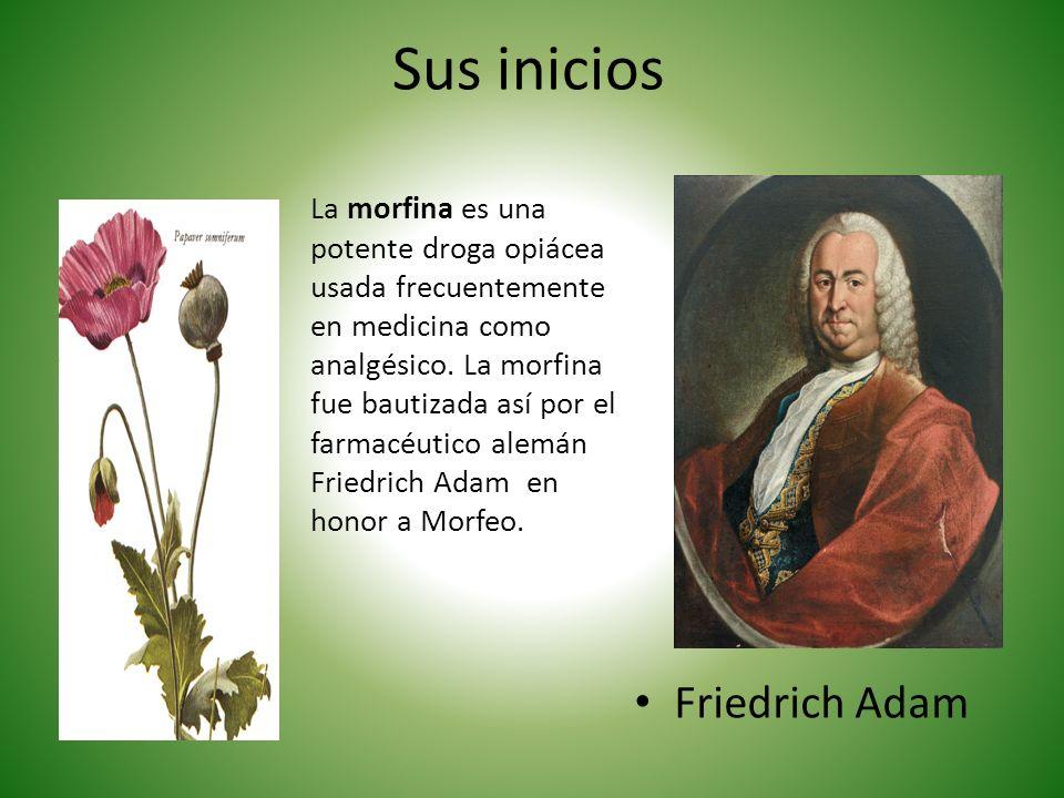 Sus inicios Friedrich Adam La morfina es una potente droga opiácea usada frecuentemente en medicina como analgésico. La morfina fue bautizada así por