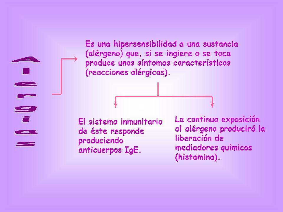 Es una hipersensibilidad a una sustancia (alérgeno) que, si se ingiere o se toca produce unos síntomas característicos (reacciones alérgicas). El sist