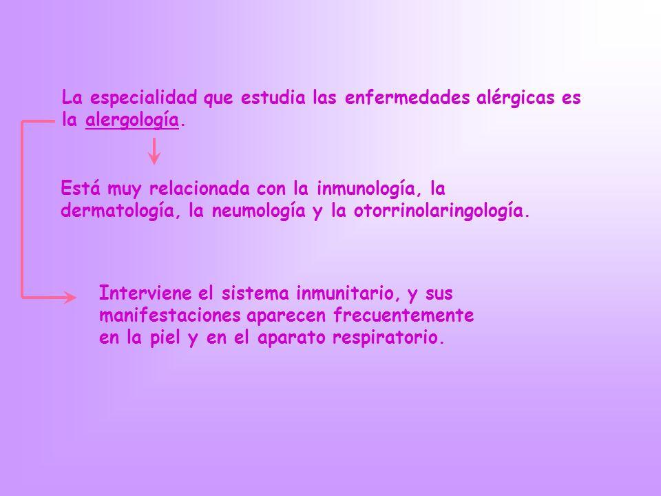 La especialidad que estudia las enfermedades alérgicas es la alergología. Está muy relacionada con la inmunología, la dermatología, la neumología y la