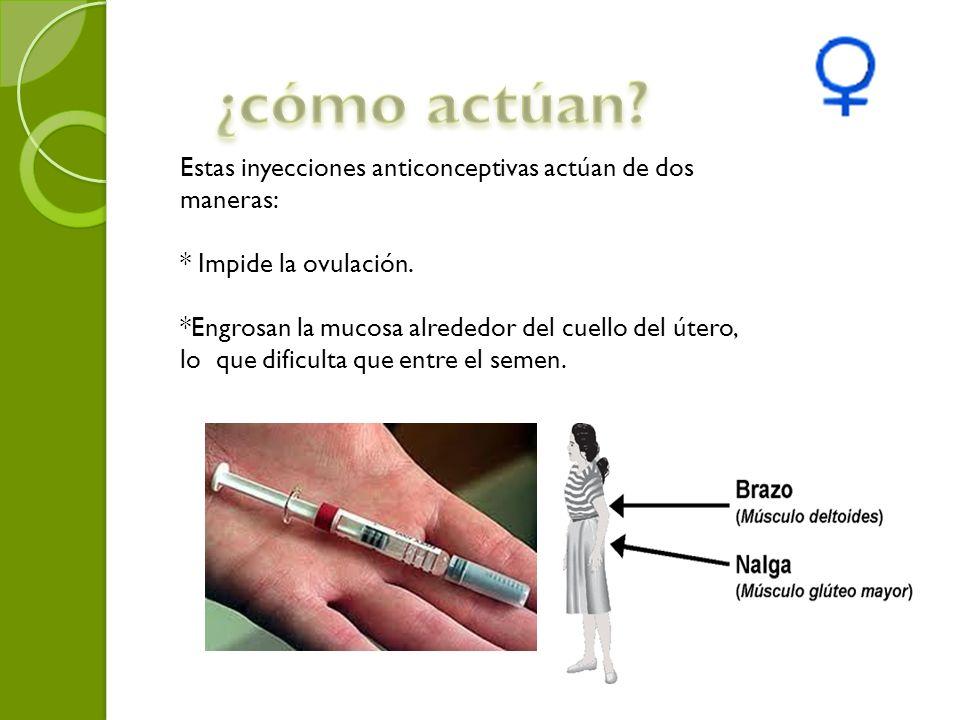 Estas inyecciones anticonceptivas actúan de dos maneras: * Impide la ovulación. *Engrosan la mucosa alrededor del cuello del útero, lo que dificulta q