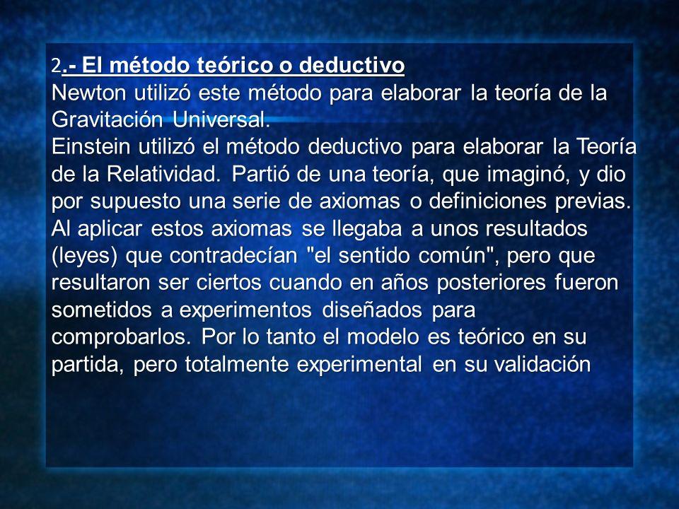 .- El método teórico o deductivo 2.- El método teórico o deductivo Newton utilizó este método para elaborar la teoría de la Gravitación Universal. Ein