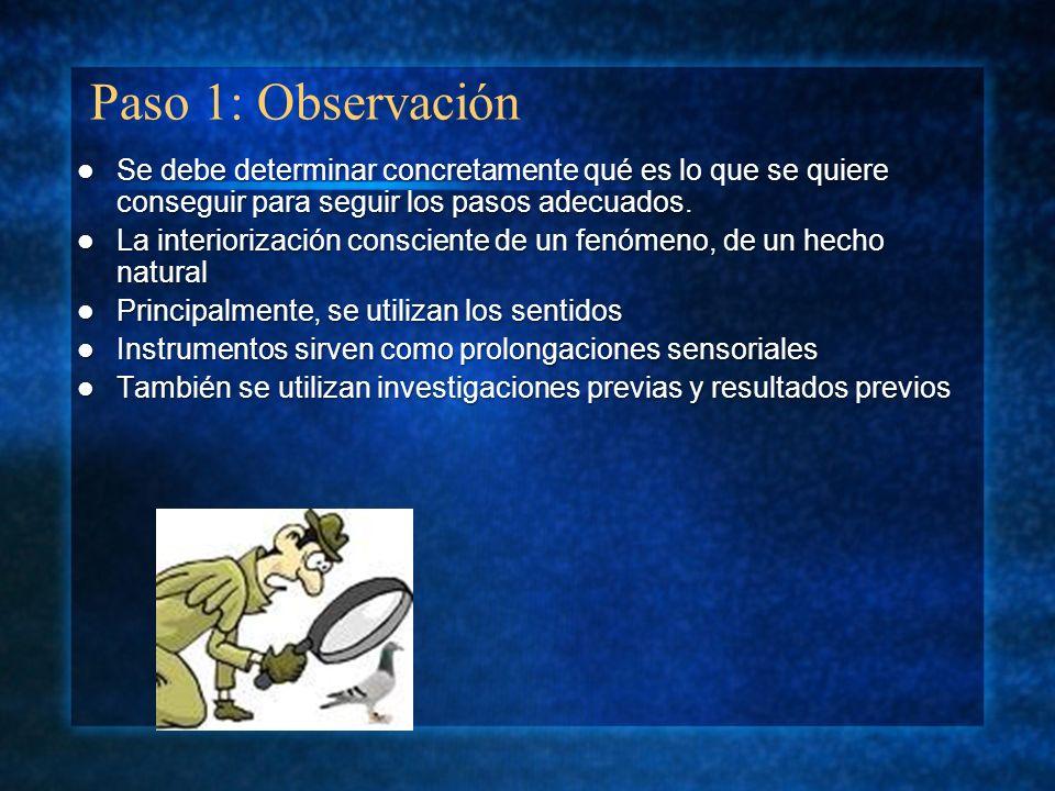 Paso 1: Observación Se debe determinar concretamente qué es lo que se quiere conseguir para seguir los pasos adecuados. Se debe determinar concretamen