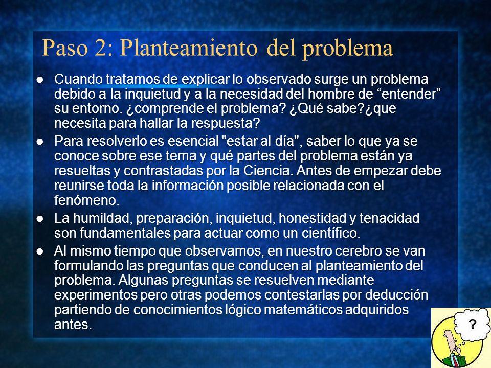Paso 2: Planteamiento del problema Cuando tratamos de explicar lo observado surge un problema debido a la inquietud y a la necesidad del hombre de ent
