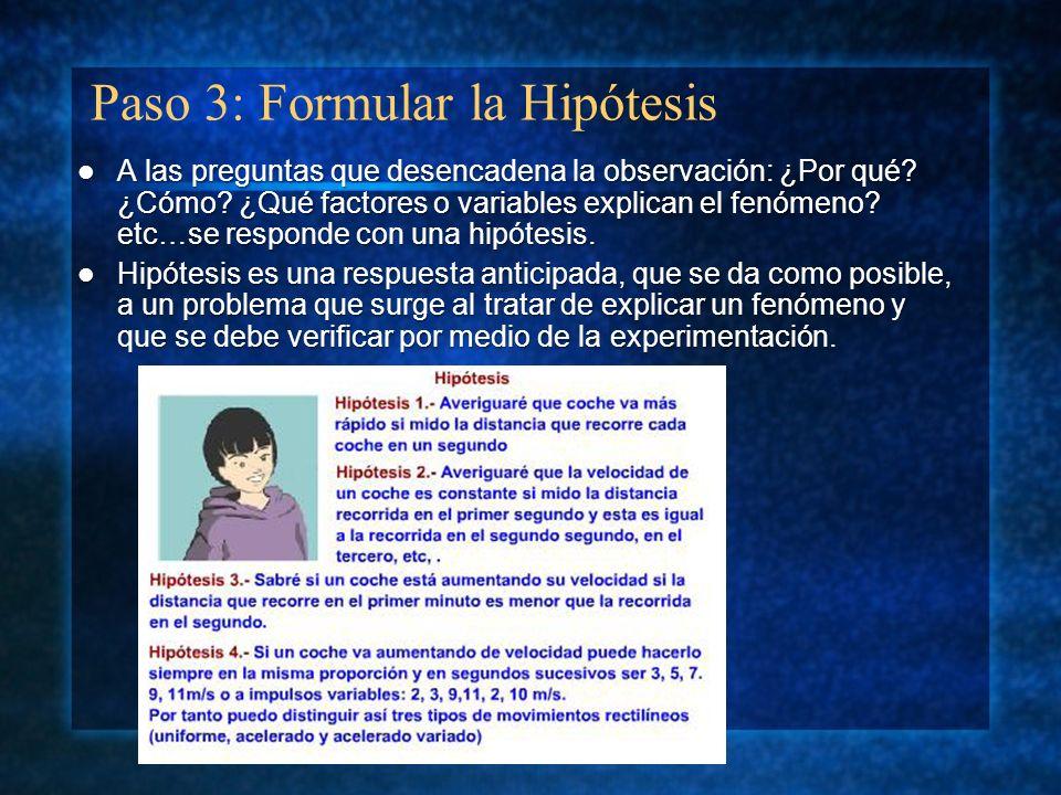 Paso 3: Formular la Hipótesis A las preguntas que desencadena la observación: ¿Por qué? ¿Cómo? ¿Qué factores o variables explican el fenómeno? etc…se