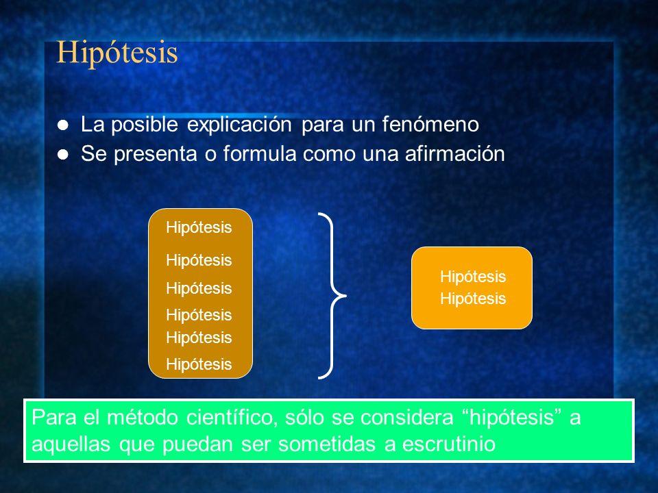 Hipótesis La posible explicación para un fenómeno Se presenta o formula como una afirmación Para el método científico, sólo se considera hipótesis a a