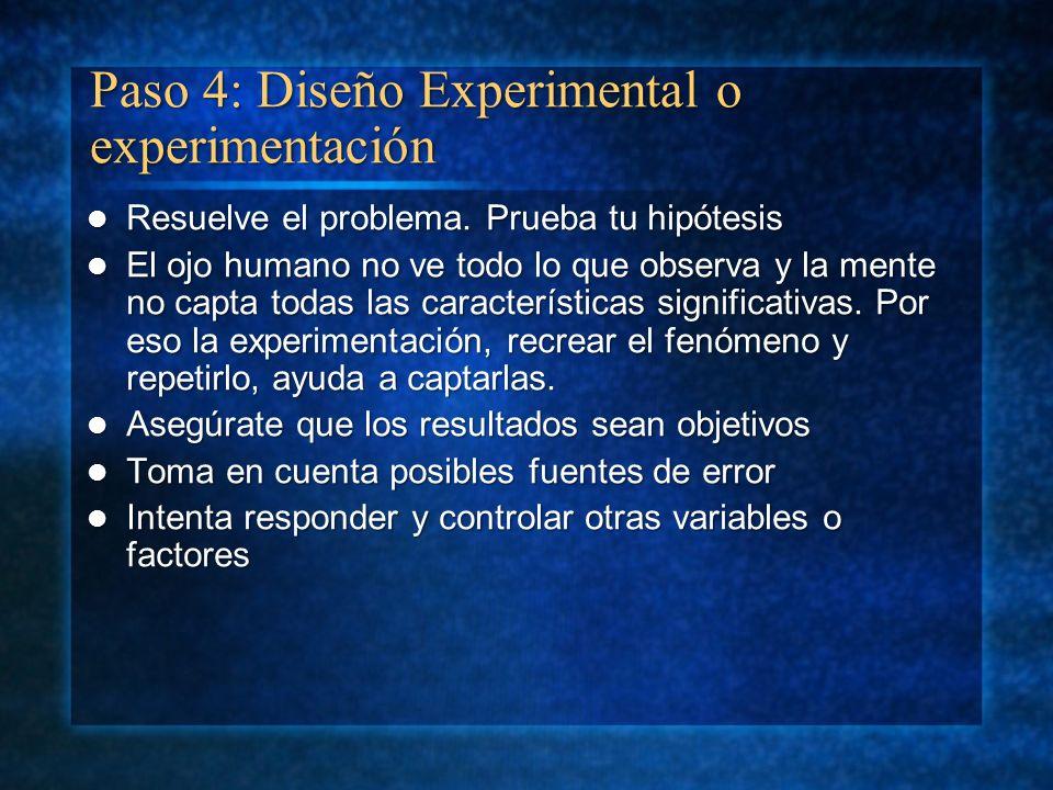Paso 4: Diseño Experimental o experimentación Resuelve el problema. Prueba tu hipótesis Resuelve el problema. Prueba tu hipótesis El ojo humano no ve