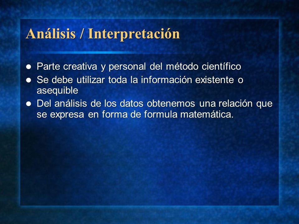 Análisis / Interpretación Parte creativa y personal del método científico Parte creativa y personal del método científico Se debe utilizar toda la inf