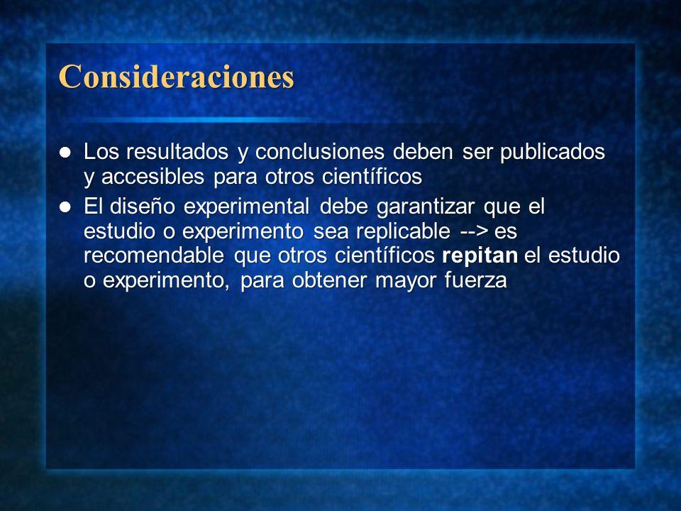 Consideraciones Los resultados y conclusiones deben ser publicados y accesibles para otros científicos Los resultados y conclusiones deben ser publica