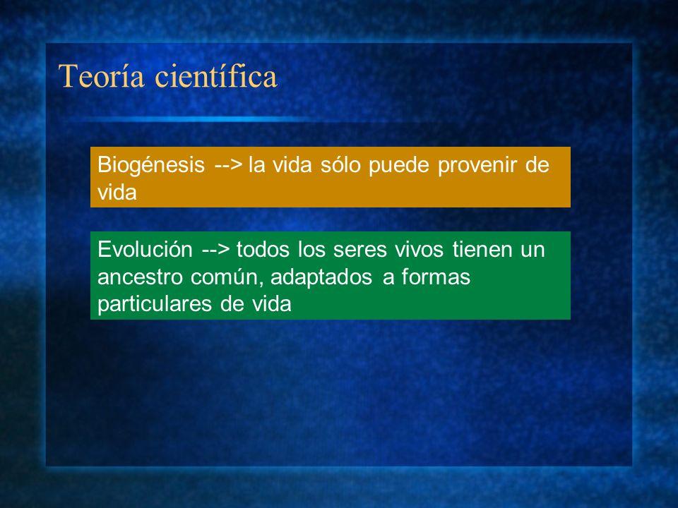Teoría científica Biogénesis --> la vida sólo puede provenir de vida Evolución --> todos los seres vivos tienen un ancestro común, adaptados a formas