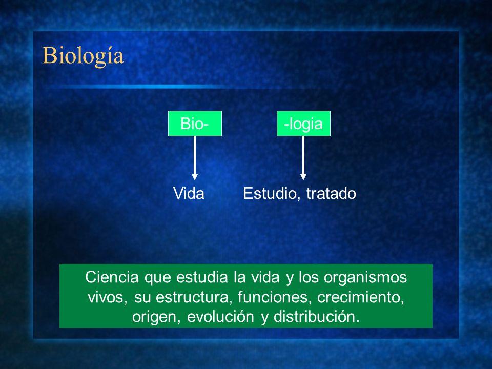 Biología Bio--logia VidaEstudio, tratado Ciencia que estudia la vida y los organismos vivos, su estructura, funciones, crecimiento, origen, evolución