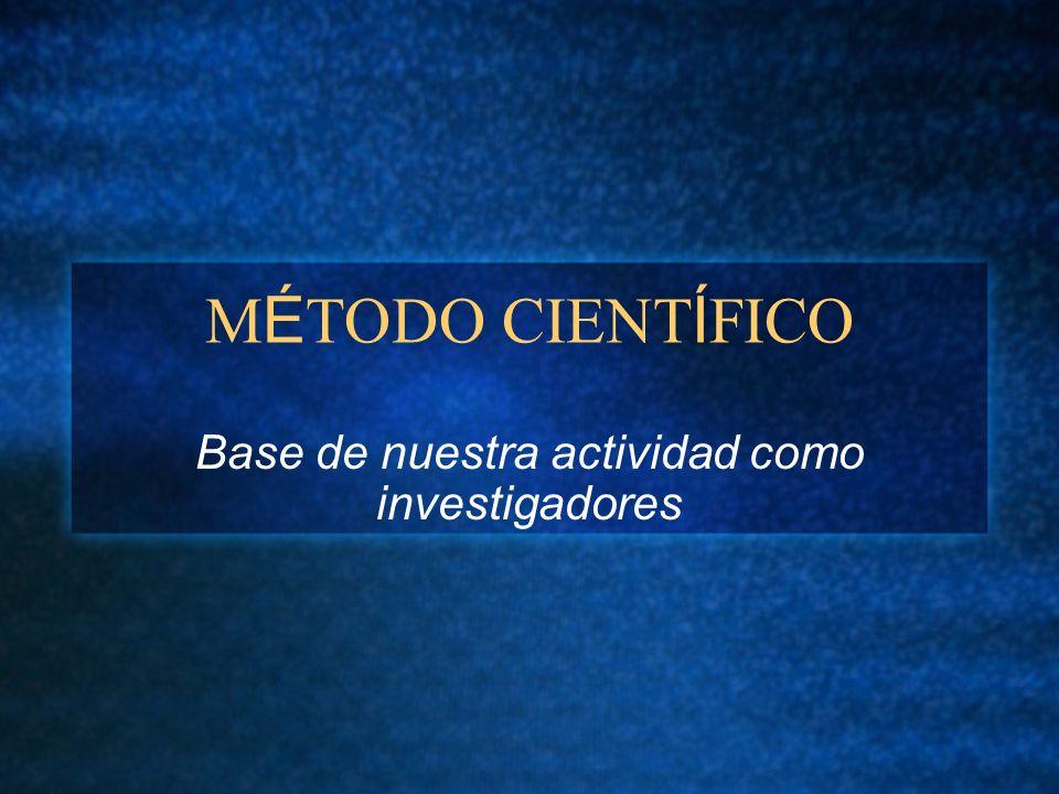 M É TODO CIENT Í FICO Base de nuestra actividad como investigadores