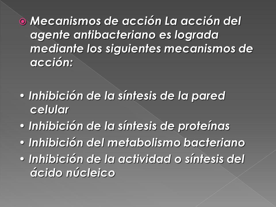 Mecanismos de acción La acción del agente antibacteriano es lograda mediante los siguientes mecanismos de acción: Mecanismos de acción La acción del a