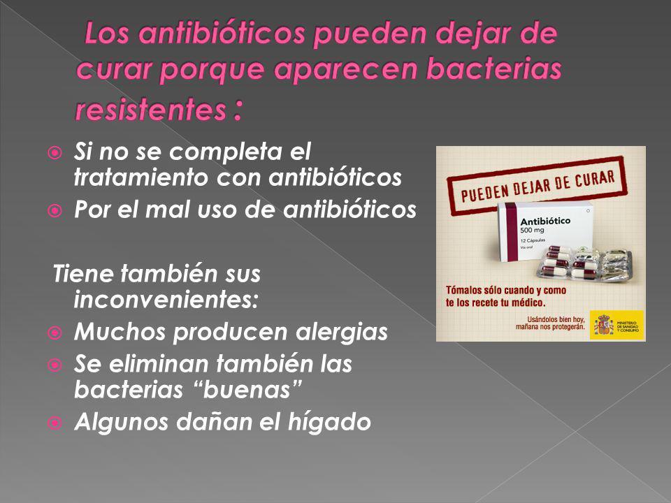 Si no se completa el tratamiento con antibióticos Por el mal uso de antibióticos Tiene también sus inconvenientes: Muchos producen alergias Se elimina