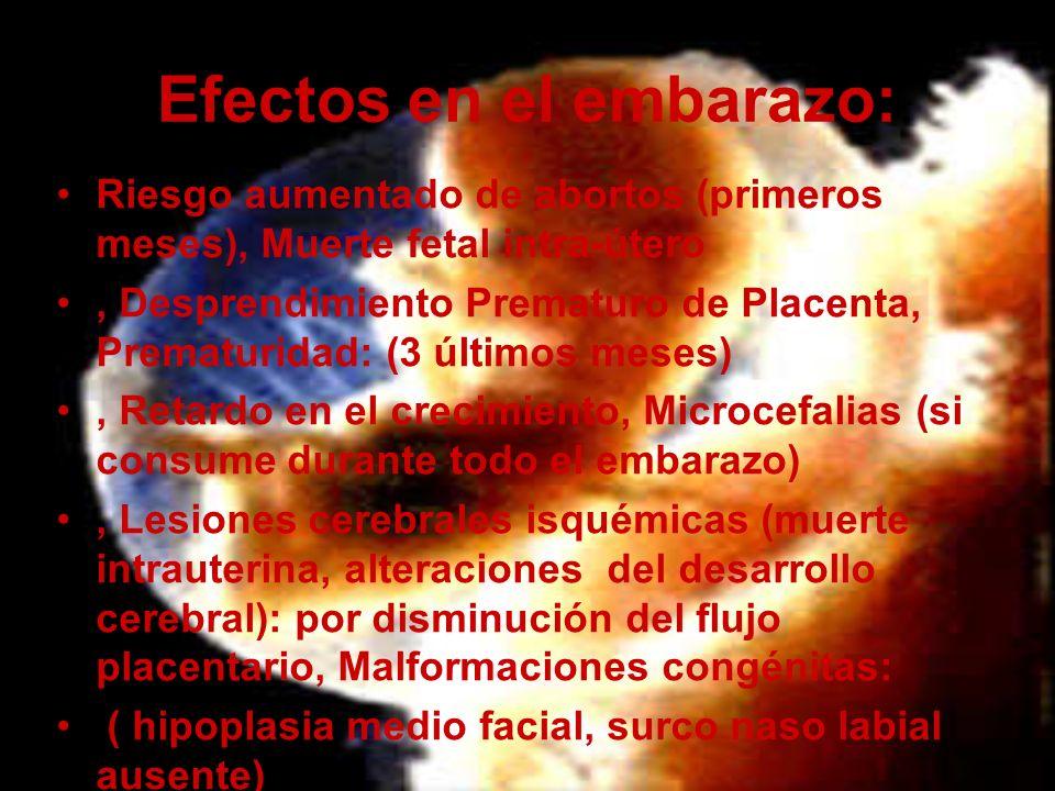 Efectos en el embarazo: Riesgo aumentado de abortos (primeros meses), Muerte fetal intra-útero, Desprendimiento Prematuro de Placenta, Prematuridad: (