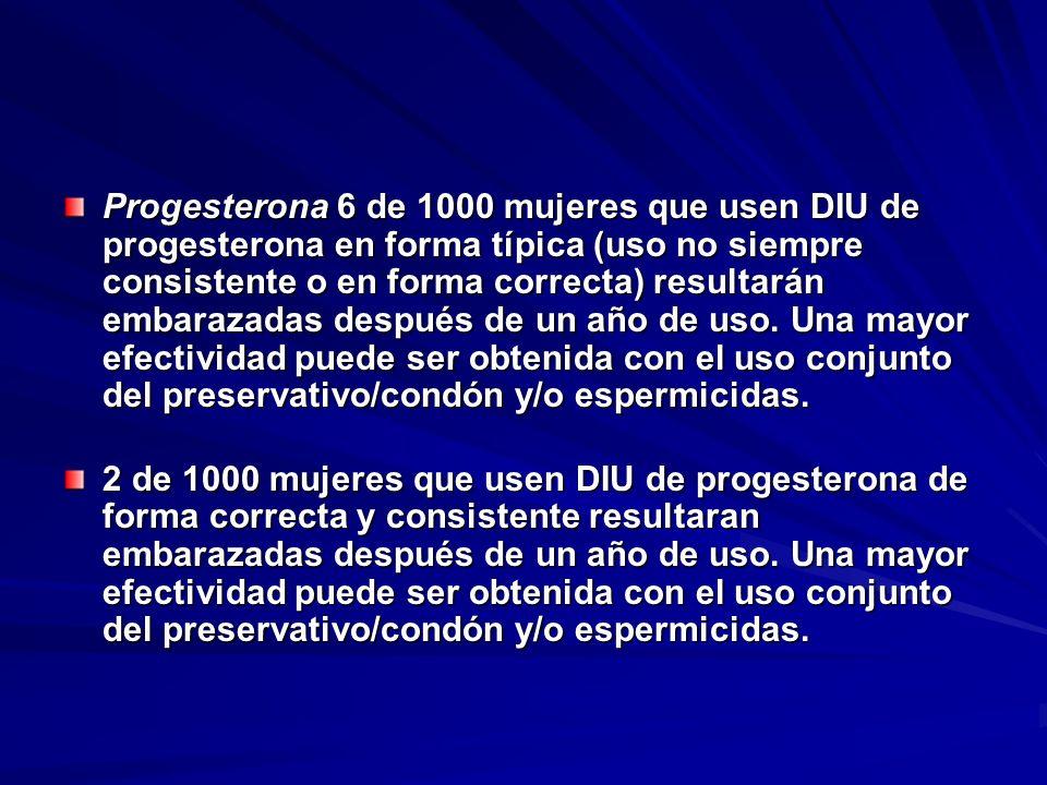 Progesterona 6 de 1000 mujeres que usen DIU de progesterona en forma típica (uso no siempre consistente o en forma correcta) resultarán embarazadas de