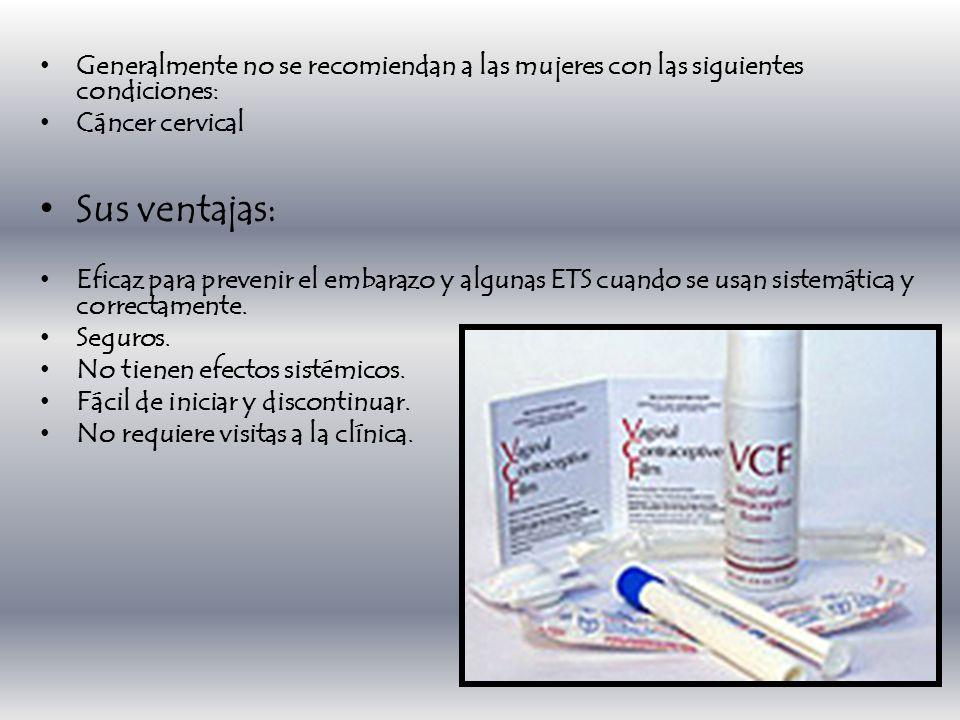 Generalmente no se recomiendan a las mujeres con las siguientes condiciones: Cáncer cervical Sus ventajas: Eficaz para prevenir el embarazo y algunas