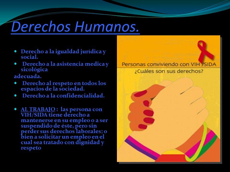 Derechos Humanos. Derecho a la igualdad jurídica y social. Derecho a la asistencia medica y sicológica adecuada. Derecho al respeto en todos los espac