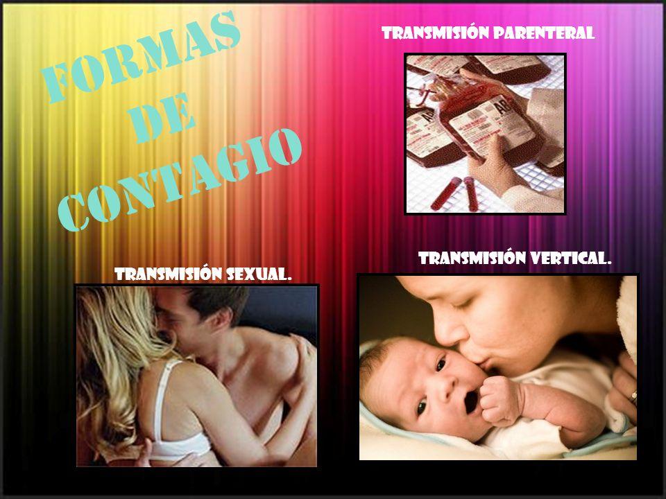 Formas de contagio Transmisión sexual. Transmisión parenteral Transmisión vertical.