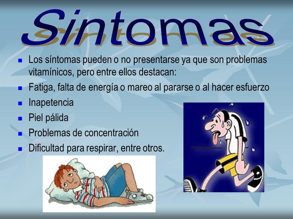 Los síntomas pueden o no presentarse ya que son problemas vitamínicos, pero entre ellos destacan: Fatiga, falta de energía o mareo al pararse o al hac