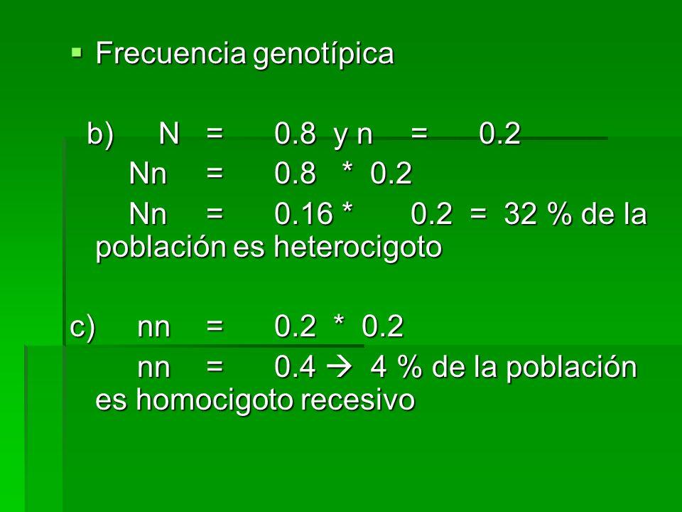 Frecuencia genotípica Frecuencia genotípica b) N=0.8 y n=0.2 b) N=0.8 y n=0.2 Nn=0.8 * 0.2 Nn=0.8 * 0.2 Nn=0.16 *0.2 = 32 % de la población es heteroc