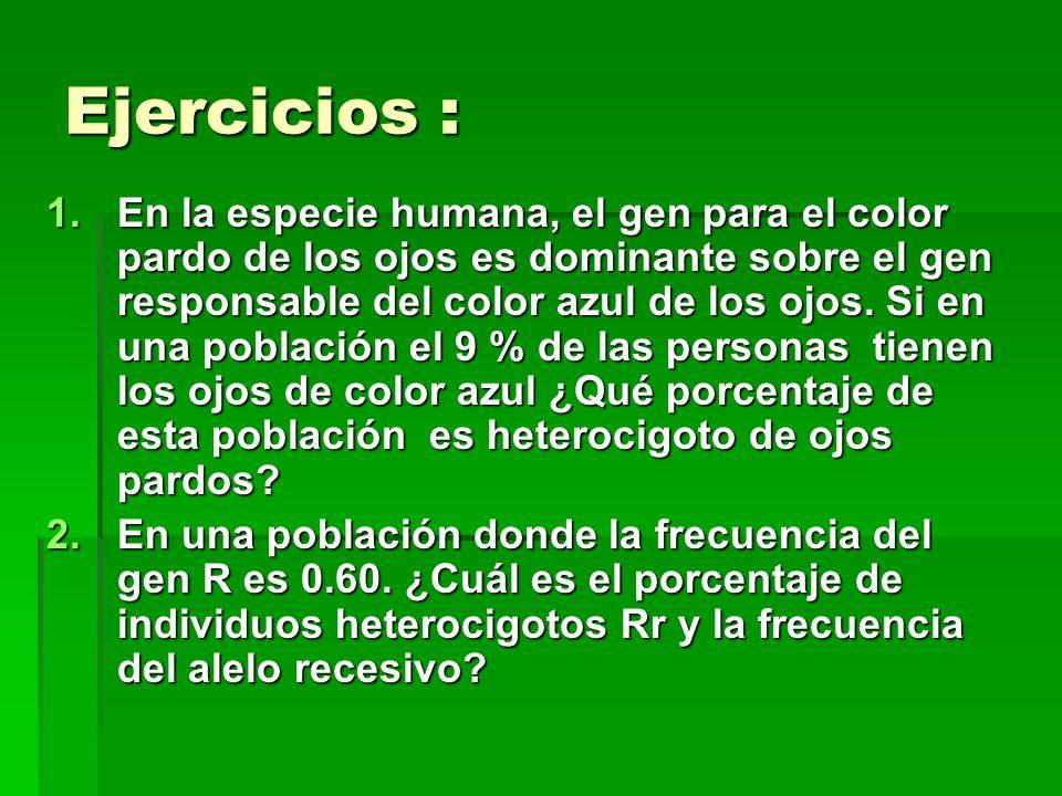 Ejercicios : 1.En la especie humana, el gen para el color pardo de los ojos es dominante sobre el gen responsable del color azul de los ojos. Si en un
