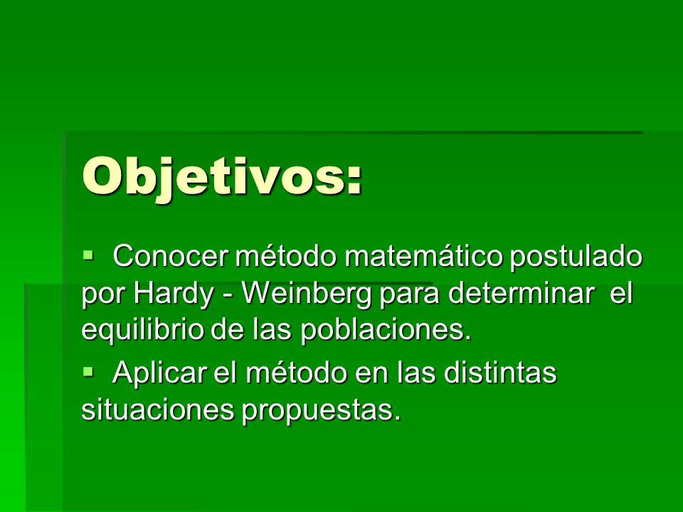 Objetivos: Conocer método matemático postulado por Hardy - Weinberg para determinar el equilibrio de las poblaciones. Conocer método matemático postul