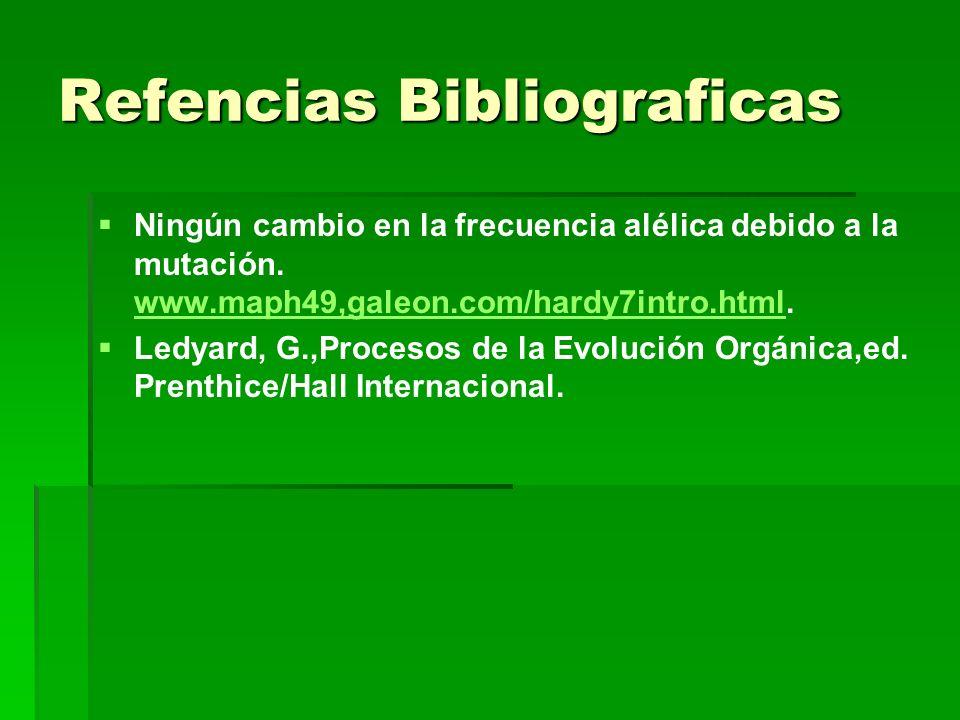 Refencias Bibliograficas Ningún cambio en la frecuencia alélica debido a la mutación. www.maph49,galeon.com/hardy7intro.html. www.maph49,galeon.com/ha