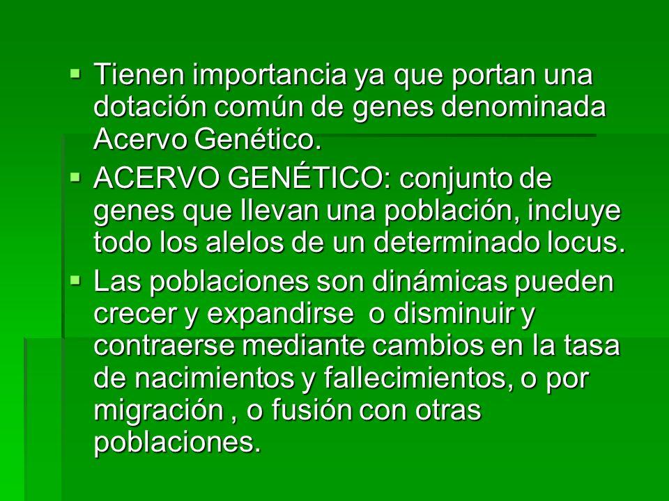 Tienen importancia ya que portan una dotación común de genes denominada Acervo Genético. Tienen importancia ya que portan una dotación común de genes