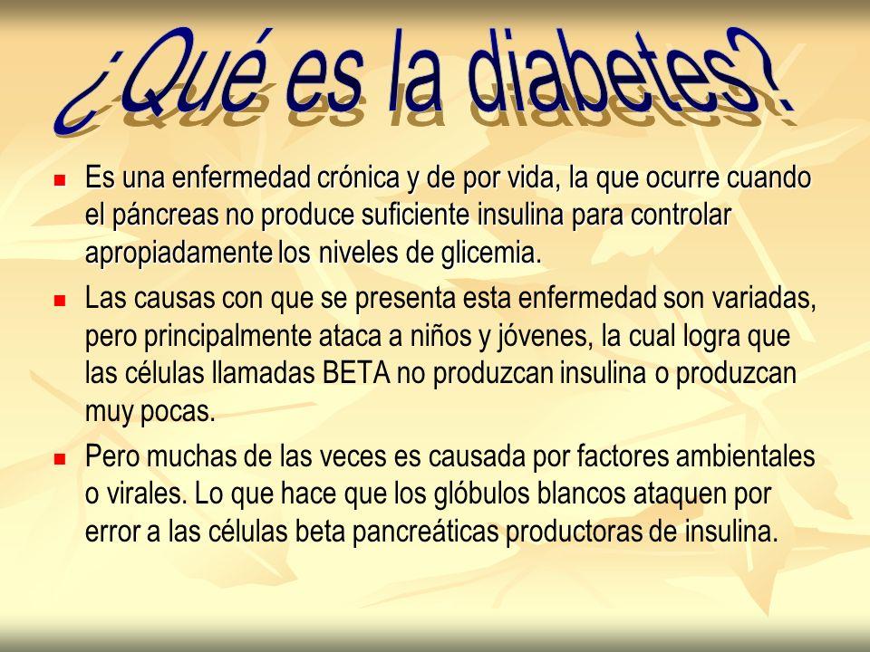 Es una enfermedad crónica y de por vida, la que ocurre cuando el páncreas no produce suficiente insulina para controlar apropiadamente los niveles de