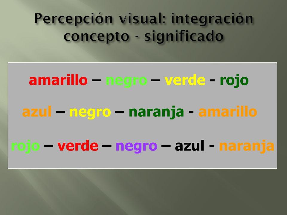 amarillo – negro – verde - rojo azul – negro – naranja - amarillo rojo – verde – negro – azul - naranja