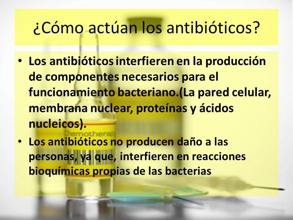 La acción antibiótica es específica,y presentan cuatro modos básicos de acción: 1.Inhibir la síntesis de la pared celular y activar enzimas que destruyan la estructura.