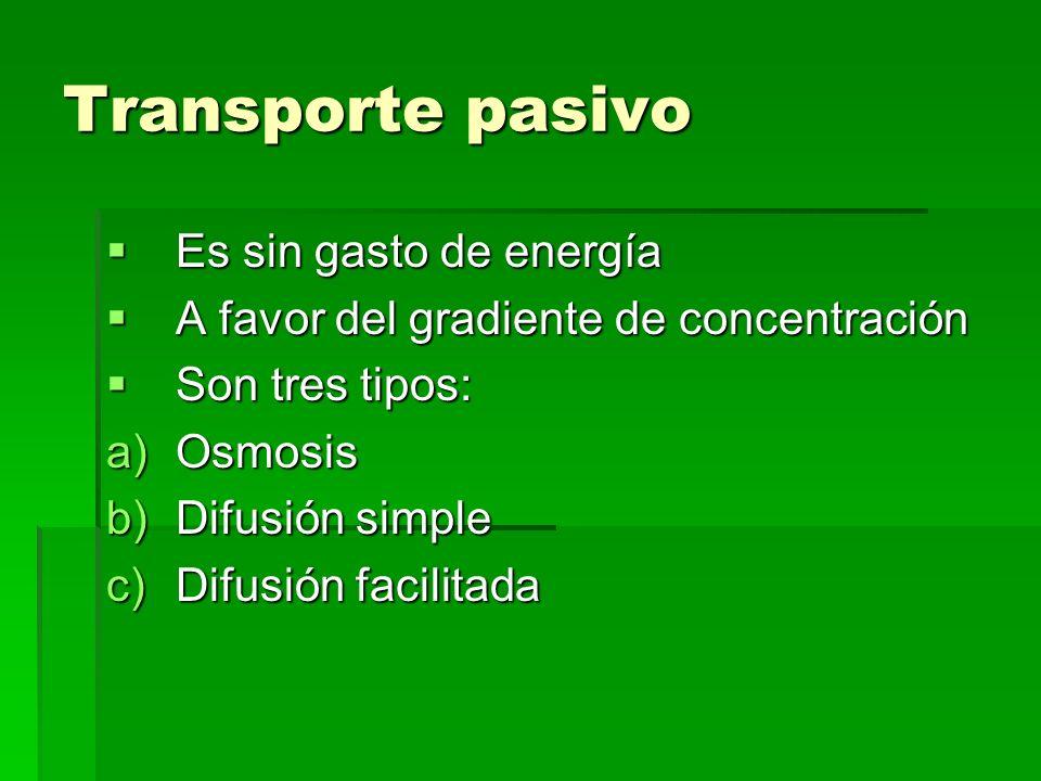 Transporte pasivo Es sin gasto de energía Es sin gasto de energía A favor del gradiente de concentración A favor del gradiente de concentración Son tr